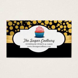 ピンクのカップケーキのベーカリーの金ゴールドの水玉模様パターン 名刺