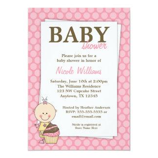 ピンクのカップケーキの水玉模様のベビーシャワー招待状 カード