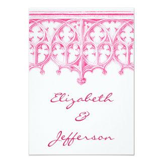 ピンクのカテドラルの結婚式招待状 カード