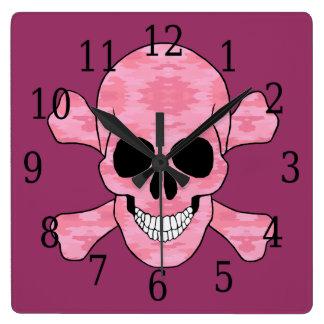 ピンクのカムフラージュのどくろ印の時計 スクエア壁時計