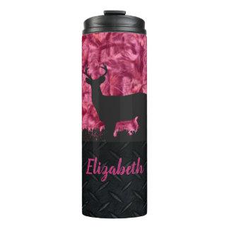 ピンクのカムフラージュのシカの狩りの名前の女性のタンブラー タンブラー
