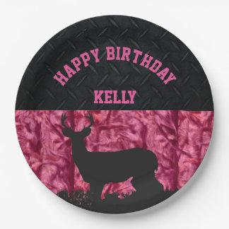 ピンクのカムフラージュのシカの狩りの国の誕生日 ペーパープレート