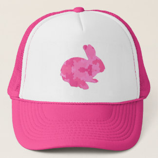 ピンクのカムフラージュのシルエットのイースターのウサギの帽子 キャップ