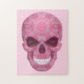 ピンクのカムフラージュのスカルのパズル ジグソーパズル