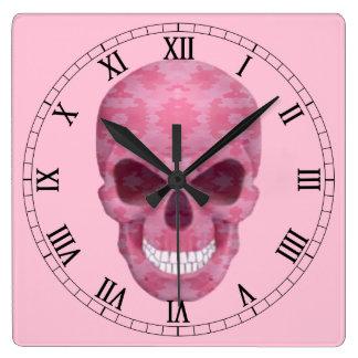 ピンクのカムフラージュのスカルのローマ数字の時計 クロック