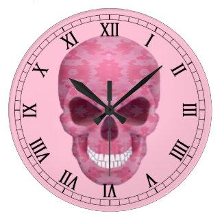 ピンクのカムフラージュのスカルのローマ数字の時計 壁時計