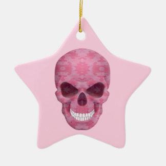 ピンクのカムフラージュのスカルの星のオーナメント セラミックオーナメント