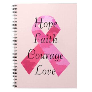 ピンクのカムフラージュのリボンの信頼の螺線形ノート ノートブック