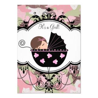 ピンクのカムフラージュの女の赤ちゃんのシャワーの招待状 カード