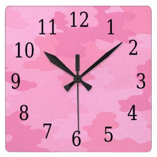 ピンクのカムフラージュの正方形の時計 ウォールクロック