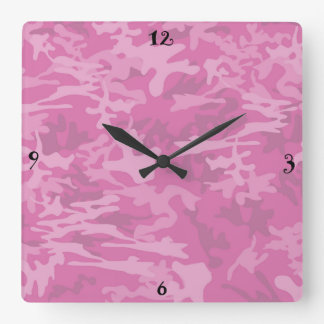 ピンクのカムフラージュ/迷彩柄の柱時計 クロック