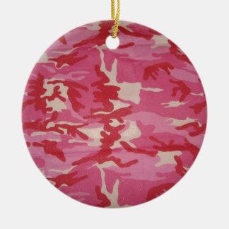ピンクのカムフラージュ 陶器製丸型オーナメント