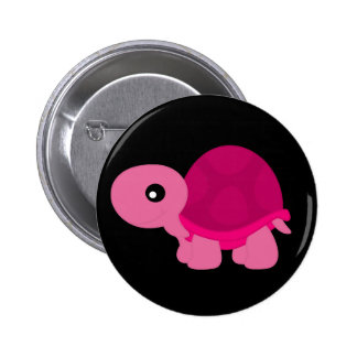 ピンクのカメ 5.7CM 丸型バッジ