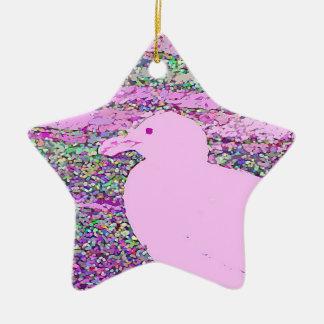 ピンクのカモメの正方形 セラミックオーナメント