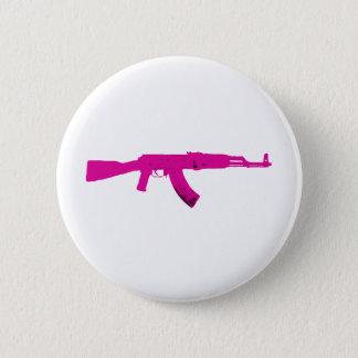 ピンクのカラシニコフ自動小銃 5.7CM 丸型バッジ