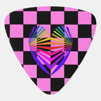 ピンクのカラフルな虹のハートのギターピック4 ギターピック
