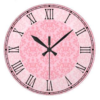 ピンクのカンガルー・ポー及びハートのダマスク織の柱時計 ラージ壁時計