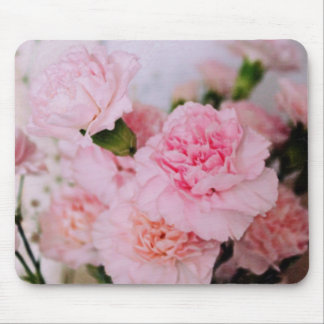 ピンクのカーネーションの花のヴィンテージのスタイルの写真撮影 マウスパッド
