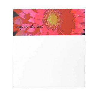 ピンクのガーベラのデイジーのメモ帳 ノートパッド