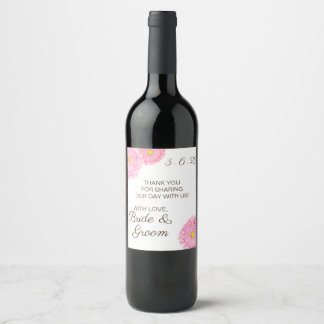 ピンクのガーベラのデイジーの花の結婚式のワインのラベル ワインラベル