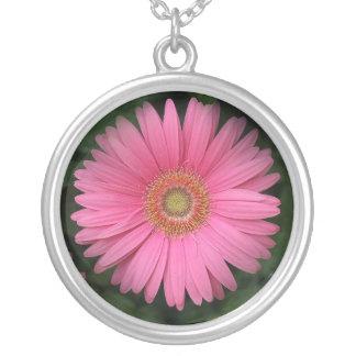 ピンクのガーベラのデイジーの銀のネックレス シルバープレートネックレス