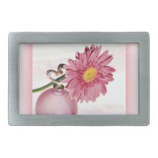 ピンクのガーベラのデイジー 長方形ベルトバックル