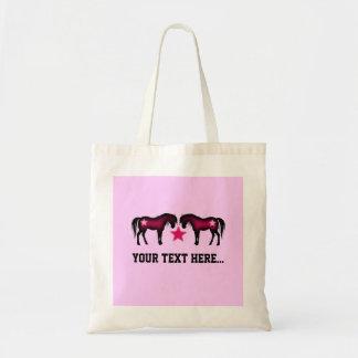 ピンクのガーリーで名前入りな馬 トートバッグ