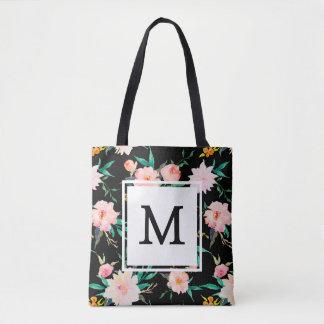 ピンクのガーリーで粋な白黒の花柄の水彩画 トートバッグ