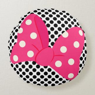 ピンクのガーリーな枕 ラウンドクッション