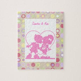 ピンクのキスをするな子供のパズル ジグソーパズル
