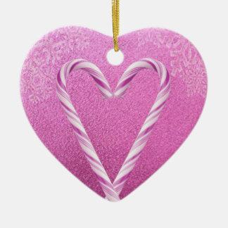 ピンクのキャンディ・ケーンのハートのプリント セラミックオーナメント