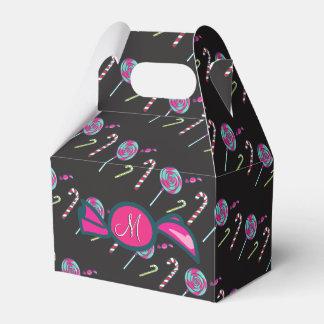ピンクのキャンディ・ケーンのボンボン菓子のモノグラム フェイバーボックス