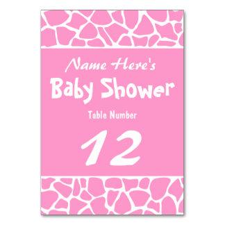 ピンクのキリンのベビーシャワー カード