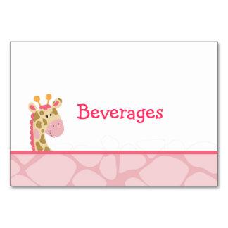 ピンクのキリンの女の子のサファリのテーブルカード カード