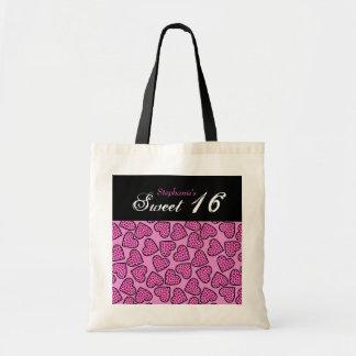 ピンクのキリンパターンハートの菓子16のバッグ トートバッグ