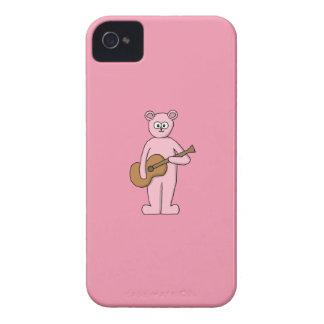ピンクのギタリストくまの漫画 Case-Mate iPhone 4 ケース