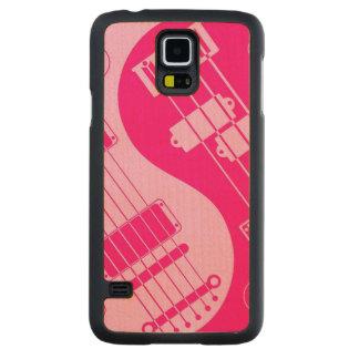 ピンクのギターおよび低音の陰陽 CarvedメープルGalaxy S5スリムケース