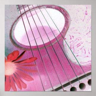 ピンクのギターポスター ポスター