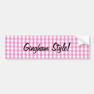 ピンクのギンガムのスタイル- Ganghamの風刺 バンパーステッカー