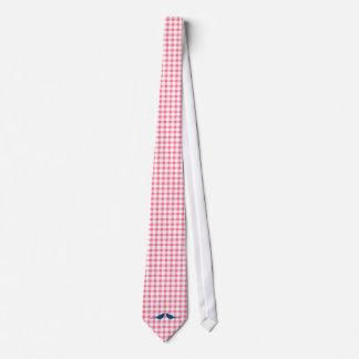 ピンクのギンガムパターン青い愛鳥の新郎のタイ オリジナルタイ
