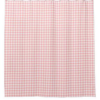 ピンクのギンガム シャワーカーテン