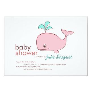 ピンクのクジラのベビーシャワー招待状 カード