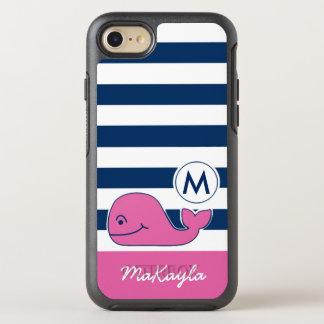 ピンクのクジラ及び海軍は縞で飾ります オッターボックスシンメトリーiPhone 8/7 ケース