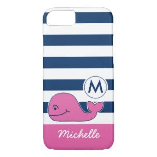 ピンクのクジラ及び海軍は縞で飾ります iPhone 8/7ケース