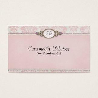ピンクのクリームのエレガントでスタイリッシュなダマスク織 名刺