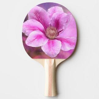 ピンクのクレマチスの花の花 卓球ラケット
