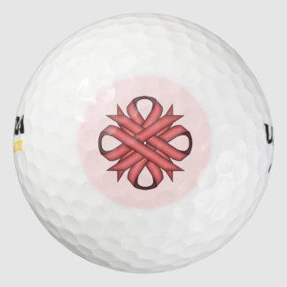 ピンクのクローバーのリボン ゴルフボール
