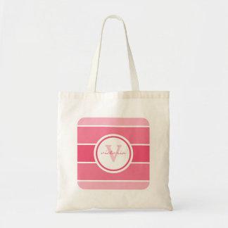 ピンクのグラデーションなモノグラム トートバッグ