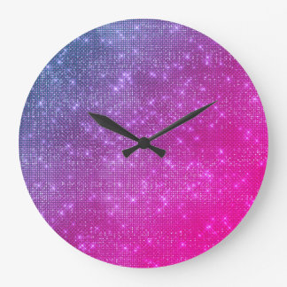 ピンクのグラデーションなラズベリーのきらめく青いスパンコールのダイヤモンド ラージ壁時計