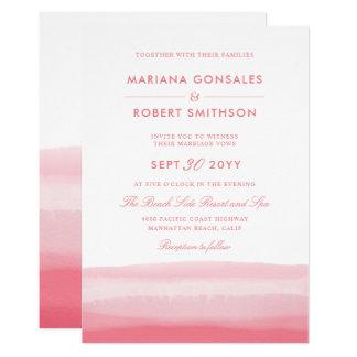 ピンクのグラデーションな水彩画の日没のモダンな結婚式 カード